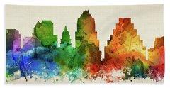 Austin Skyline Panorama Ustxau-pa03 Hand Towel by Aged Pixel