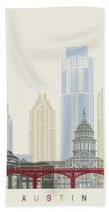 Austin Skyline Poster Hand Towel by Pablo Romero