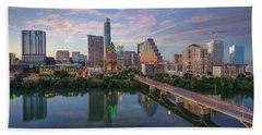 Austin Texas Evening Skyline 73 Hand Towel by Rob Greebon