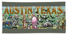 Hand Towel featuring the digital art Austin Texas Fun Art by Kevin Middleton
