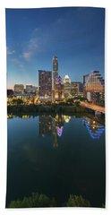 Austin Texas Skyline At Night 73 Hand Towel by Rob Greebon