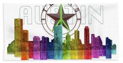 Austin Texas Skyline Hand Towel by Doug Kreuger