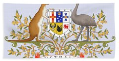 Bath Towel featuring the drawing Australia Coat Of Arms by Movie Poster Prints