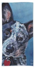 Hand Towel featuring the painting Australian Cattle Dog by Lee Ann Shepard
