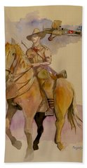 Bath Towel featuring the painting Australian Light Horse Regiment. by Ray Agius