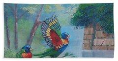 Australian Rainbow Parrots Hand Towel