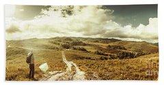 Australian Rural Panoramic Landscape Bath Towel