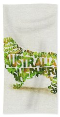 Australian Shepherd Dog Watercolor Painting / Typographic Art Hand Towel