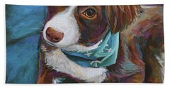 Bath Towel featuring the painting Australian Shepherd Puppy by Robert Phelps