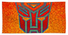 Hand Towel featuring the digital art Autobot Cracked by Justin Moore