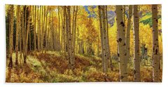 Autumn Aspen Forest Aspen Colorado Panorama Hand Towel