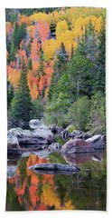 Hand Towel featuring the photograph Autumn At Bear Lake by David Chandler