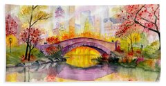 Autumn At Gapstow Bridge Central Park Hand Towel