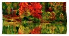 Autumn At The Lake-artistic Bath Towel