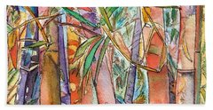Hand Towel featuring the painting Autumn Bamboo by Marionette Taboniar