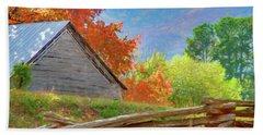 Autumn Barn Digital Watercolor Hand Towel