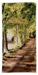 Hand Towel featuring the painting Autumn Begins In Underhill by Laurie Rohner