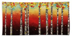 Hand Towel featuring the painting Autumn Birch Trees by Carmen Guedez