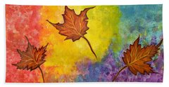 Autumn Bliss Colorful Abstract Painting Hand Towel