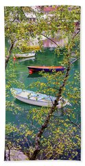 Bath Towel featuring the photograph Autumn. Boats by Dmytro Korol