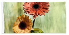 Autumn Colored Gerber Daisies Hand Towel