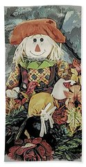 Bath Towel featuring the digital art Autumn Country Scarecrow by Kathy Kelly
