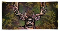 Autumn Deer Abstract Bath Towel