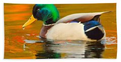 Autumn Duck Bath Towel by Debbie Stahre