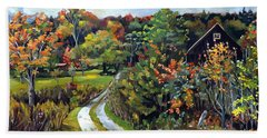 Hand Towel featuring the painting Autumn Explosion In Vermont by Nancy Griswold