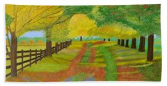 Bath Towel featuring the painting Autumn- Fallen Leaves by Magdalena Frohnsdorff