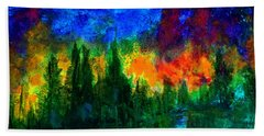 Bath Towel featuring the painting Autumn Fires by Claire Bull