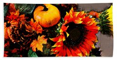 Autumn Flowers Bath Towel