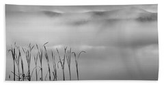 Bath Towel featuring the photograph Autumn Fog Black And White Square by Bill Wakeley