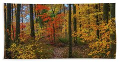 Autumn Forest Hike Bath Towel