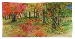 Autumn Forest Watercolor Illustration Hand Towel