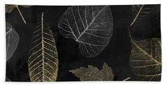 Autumn Gold Leaf Pattern Bath Towel