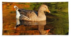 Hand Towel featuring the photograph Autumn Goose Reflection by Debbie Stahre