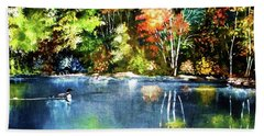 Autumn In Loon Country Bath Towel by Al Brown