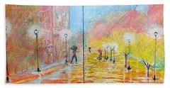 Hand Towel featuring the painting Autumn In Paris by Judi Goodwin