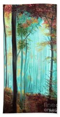 Autumn In The Forest Hand Towel by Derek Rutt