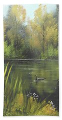 Bath Towel featuring the mixed media Autumn In The Park by Angela Stout