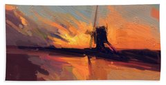 Bath Towel featuring the painting Autumn Indian Summer Windmill Holland by Nop Briex