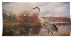 Autumn Lake Crane Bath Towel