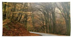 Autumn Landscape Painting Bath Towel by Odon Czintos
