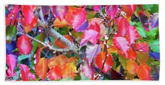 Autumn Leaves And Buds Bath Towel