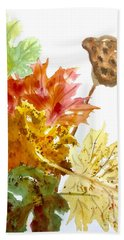 Autumn Leaves Still Life Hand Towel by Ellen Levinson