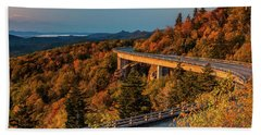 Morning Sun Light - Autumn Linn Cove Viaduct Fall Foliage Bath Towel