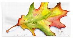 Autumn Oak Leaf Watercolor Bath Towel