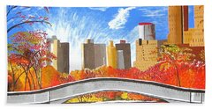 Bath Towel featuring the painting Autumn Oasis by Donna Blossom