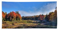 Hand Towel featuring the photograph Autumn Panorama At The Green Bridge by David Patterson
